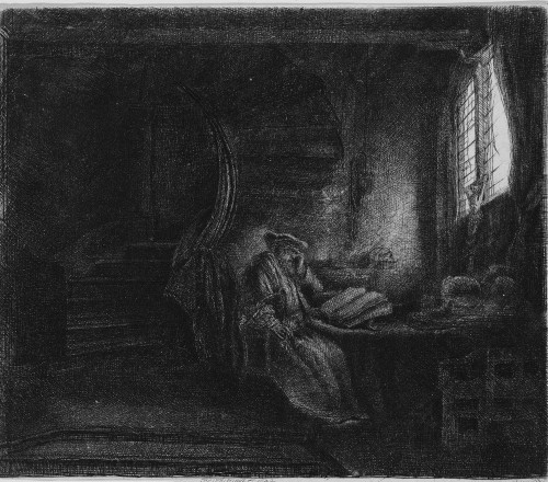 Saint Jerome in a Dark Chamber by Rembrandt