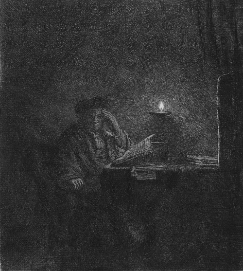 Scholar at a table by candlelight by Rembrandt